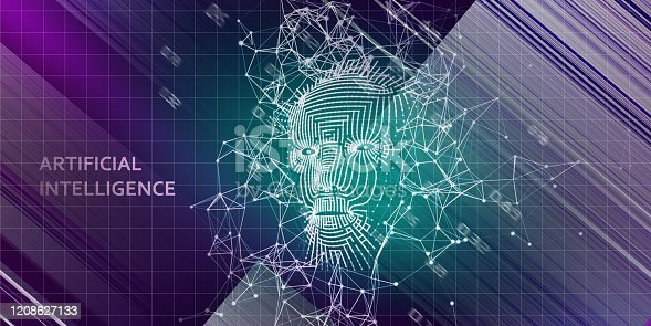 istock Abstract background with  3d wireframe face.  AI. Artificial intelligence concept with blurred lines. Abstract digital grid human face. 1208627133