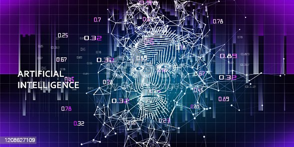 istock Abstract background with  3d wireframe face. Artificial intelligence concept with blurred lines. AI. Abstract digital grid human face. 1208627109