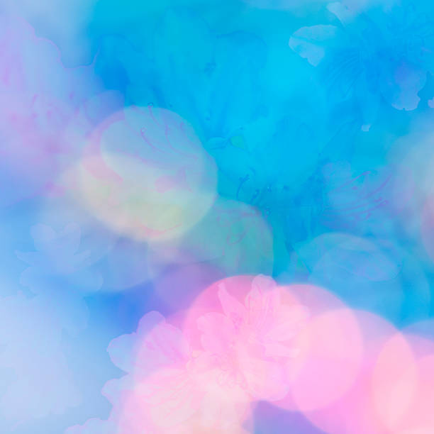 Abstract background with azaleas and soft light stock photo