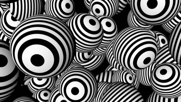 Fondo abstracto con esferas blancas y negras - foto de stock