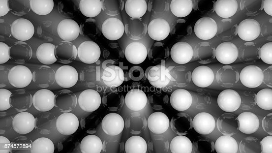 istock Abstract background with black and white spheres 874572894