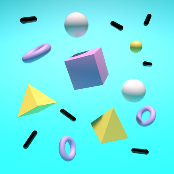 Abstract background with colorful geometric elements. 3D rendering objects shape. Minimal poster style.