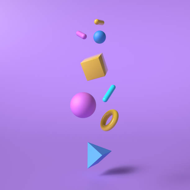 Abstract background with colorful geometric elements in the air with shadow. 3D rendering objects shape. Minimal poster style. stock photo
