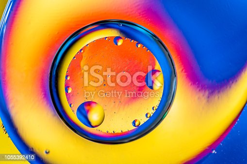 Abstract background with colorful gradient colors. Oil drops in water abstract psychedelic pattern image. Blue orange yellow colored abstract pattern