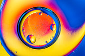 Abstract background with colorful gradient colors. Oil drops in water abstract psychedelic pattern image. Blue orange yellow colored abstract pattern.