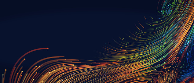 Abstract background with colorful spiral swirl lines, fiber data flow, 3d illustration