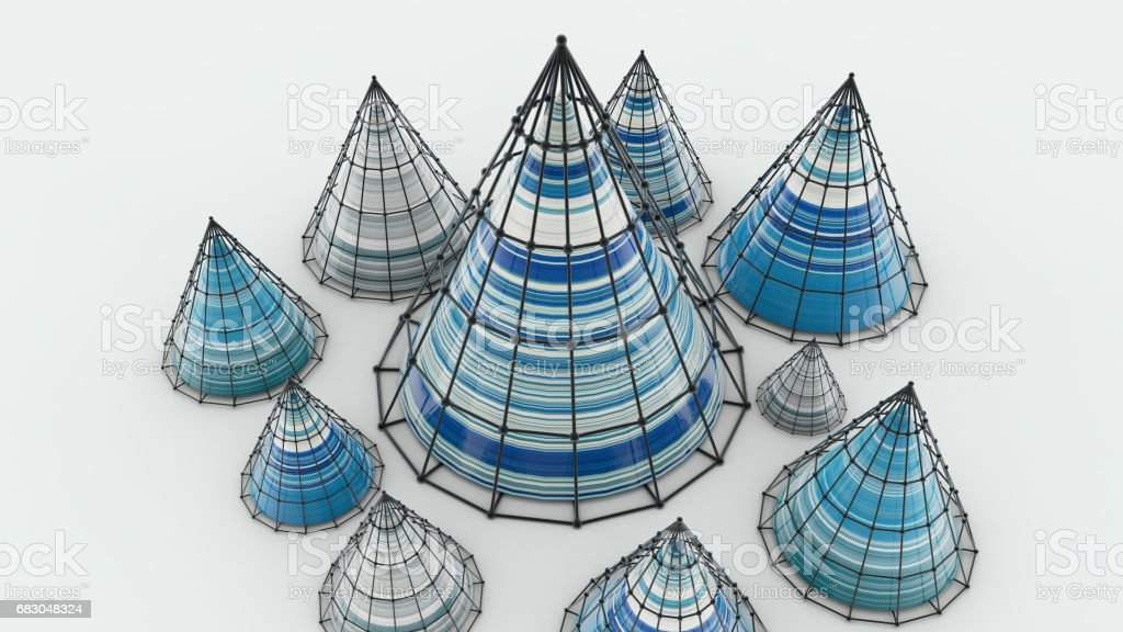 Abstract background with cones, 3D rendering, stretched pixels texture foto de stock royalty-free