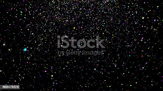 istock Abstract background with confetti on black background 868478526