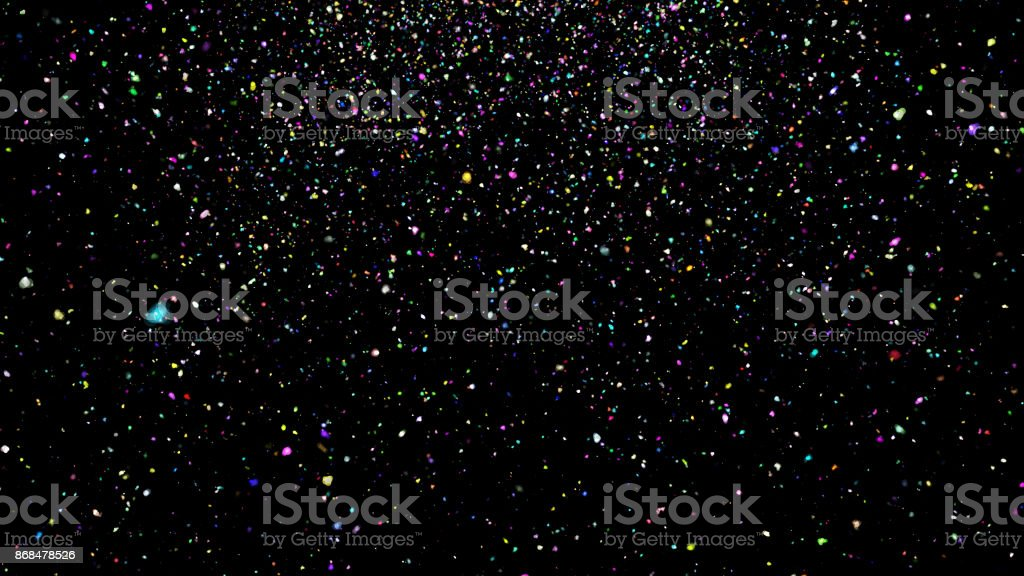 Abstract background with confetti on black background stock photo