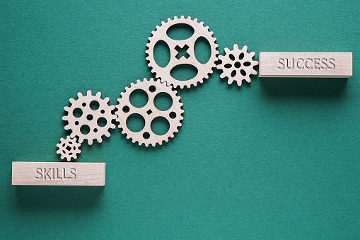 istock Abstract background with connected gears working together, from skills to success. Creative development process. 1198082420