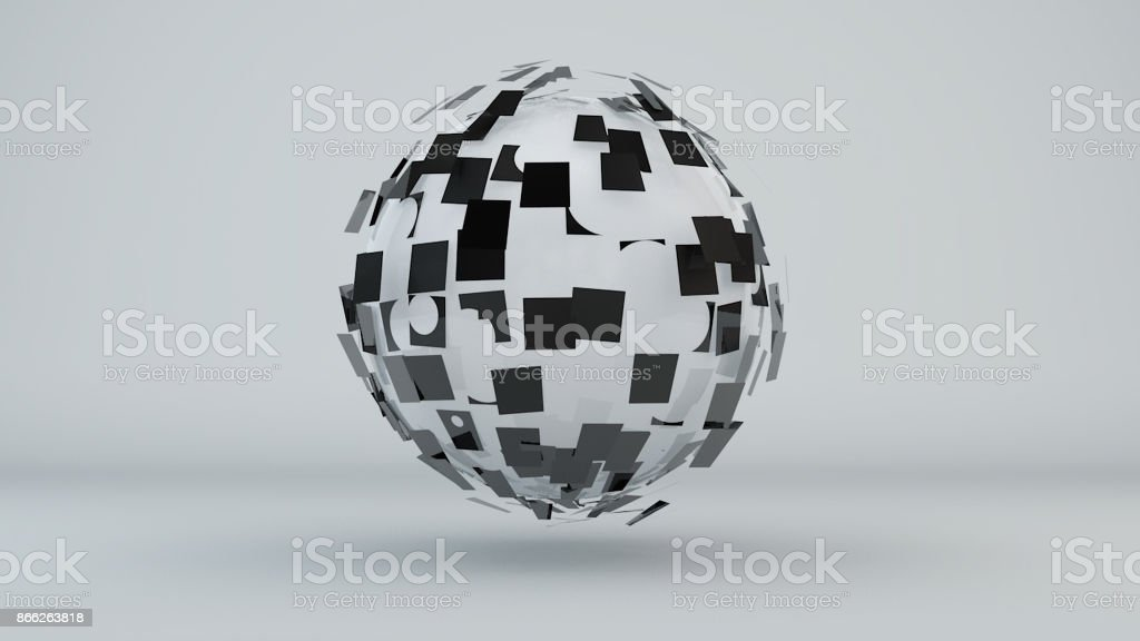 Abstract background with digital sphere stock photo