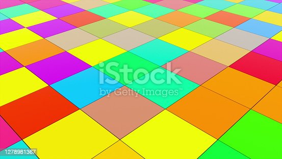 Abstract background with disco floor. Technology colorful backdrop. 3d rendering