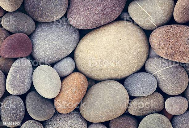 Photo of abstract background with dry round pebble stones macro