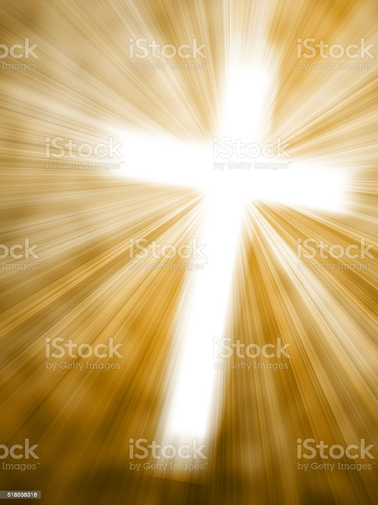 Abstract background with glowing cross and light rays stock photo