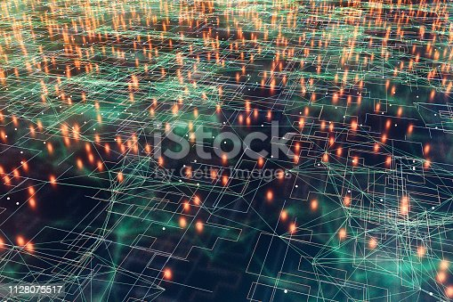 Abstract background with glowing group of lines.