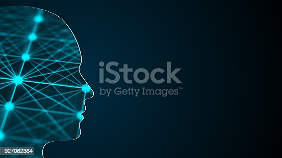 istock Abstract background with human head. Technology concept backdrop. 3d rendering 927062364
