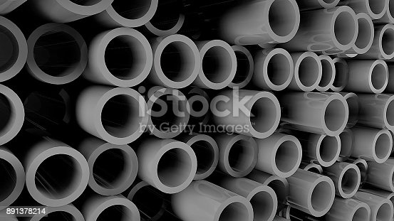 istock Abstract background with Iron pipes 891378214