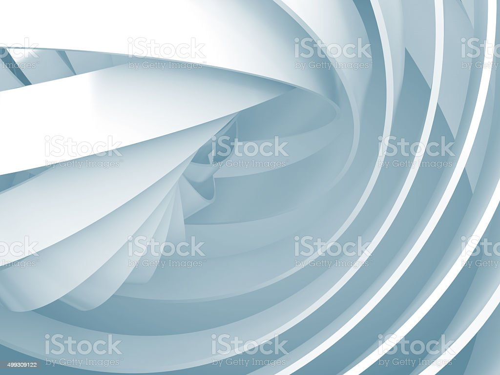 Abstract background with light blue 3d spiral structures stock photo