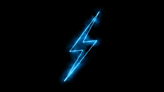 Abstract background with lighting bolt sign. Icon on black background. 3d rendering