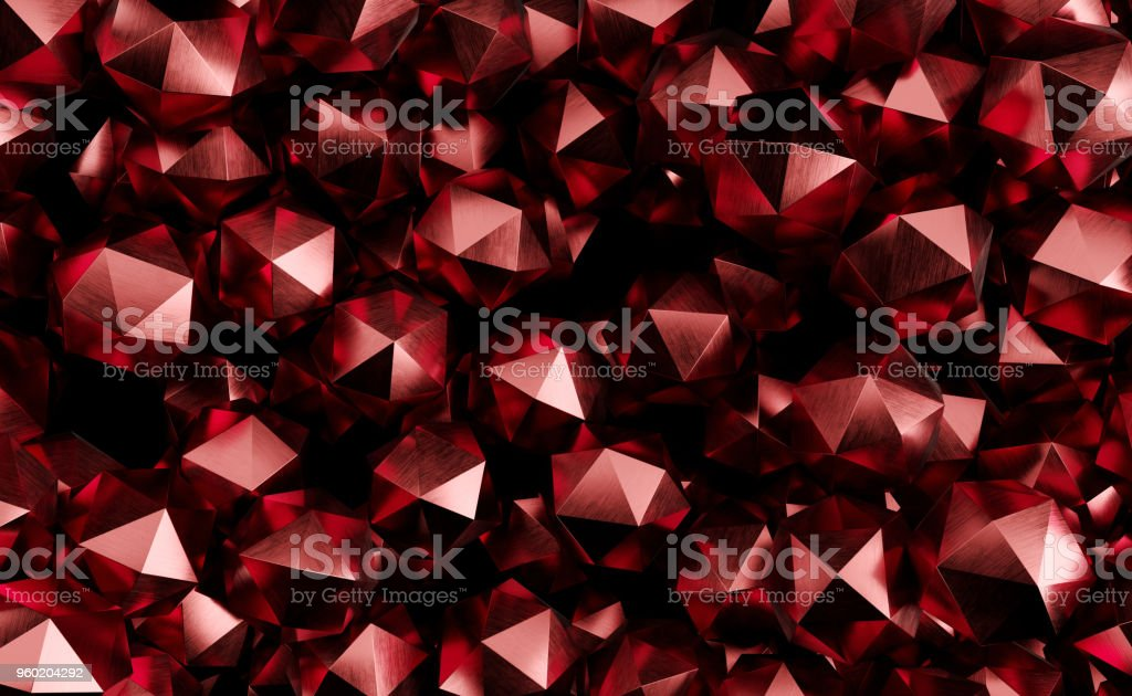 Abstract Background With Lots Of Low Poly Spheres 3D Rendering stock photo