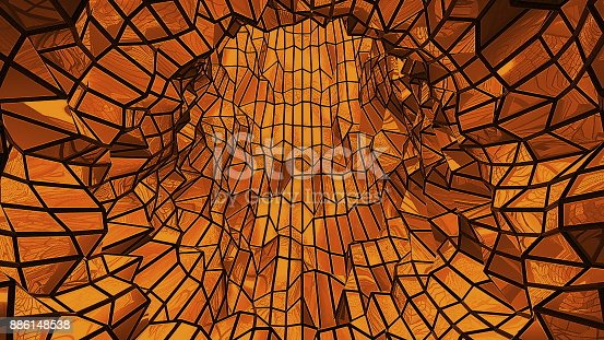 istock Abstract background with low poly tunnel 886148538