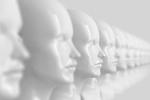 多くの同一の焦点外の女性の人形の顔を持つ抽象的な背景, そのうちの1つは、フォーカス3dイラストレーションで - マネキン ストックフォトと画像