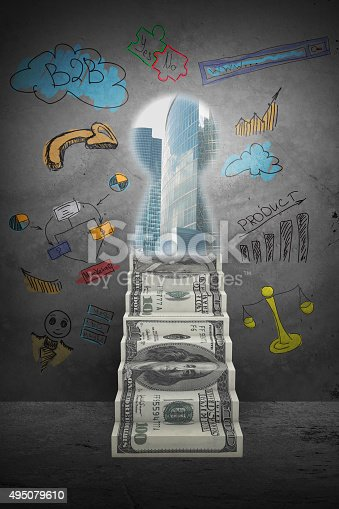 istock Abstract background with money stairs and key hole 495079610