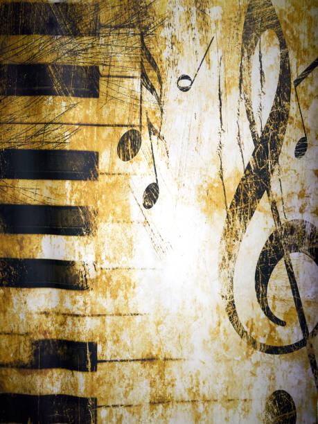 abstract background with musical symbols - pięciolinia zdjęcia i obrazy z banku zdjęć