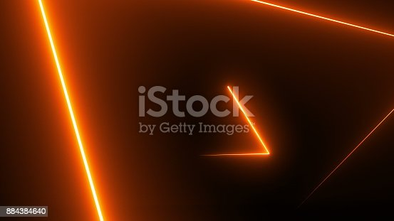 istock Abstract background with neon triangles 884384640