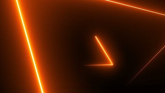 904312598 istock photo Abstract background with neon triangles 884384640