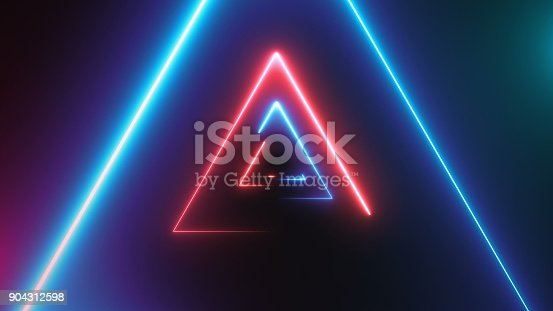 istock Abstract background with neon triangles 904312598