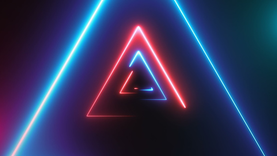 904312598 istock photo Abstract background with neon triangles 904312598