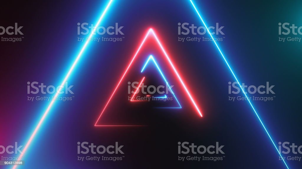 Abstract background with neon triangles stock photo