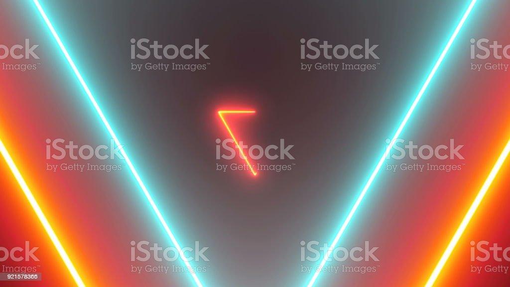 Abstrato com triângulos de néon - foto de acervo