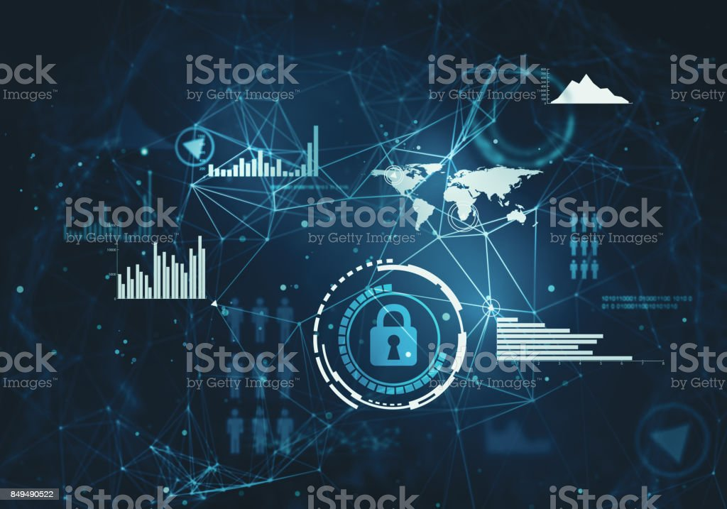 Abstract background with network technologies. stock photo