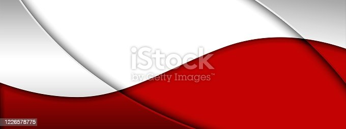 901409540 istock photo Abstract background with overlapping red and white shapes 1226578775