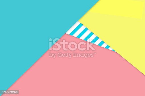 Abstract background with pastel aqua pink yellow beach colors with striped pattern. Material design.