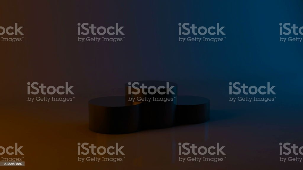 Abstract background with podium winners. Dark theme with orange and blue stock photo