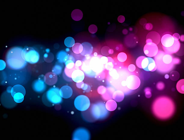 abstract background with red and blue circles - disco lights stock photos and pictures
