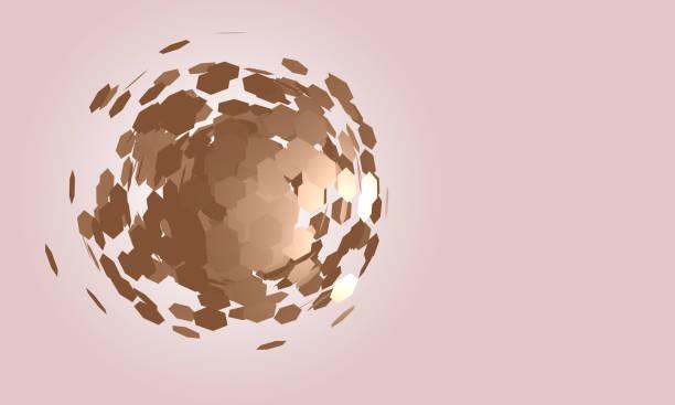 abstrait avec des particules hexagonales épars formant la forme d'une sphère - imploser photos et images de collection