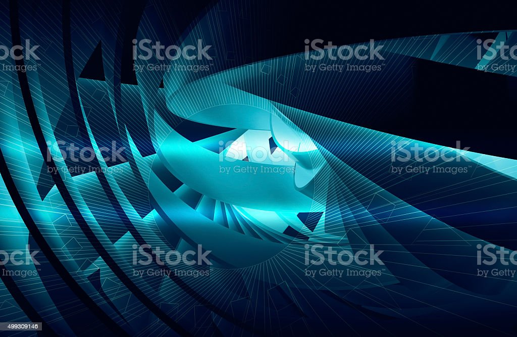 Abstract background with shining dark blue 3d spiral stock photo