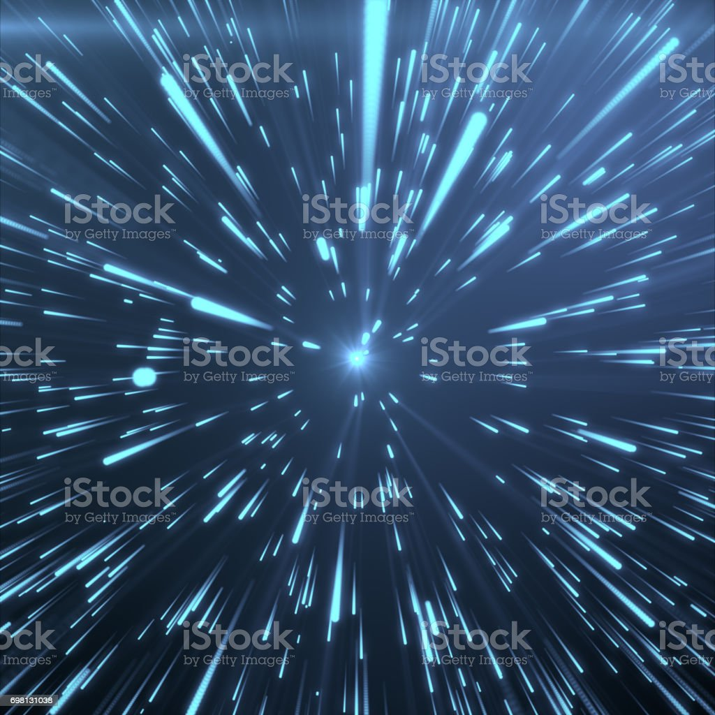 Abstract Background With Star Warp or Hyperspace. Abstract Exploding Effect. Hyperspace Travel. The Concept of Space Travel by Changing Time and Space. Blue tint background, 3D Rendering stock photo