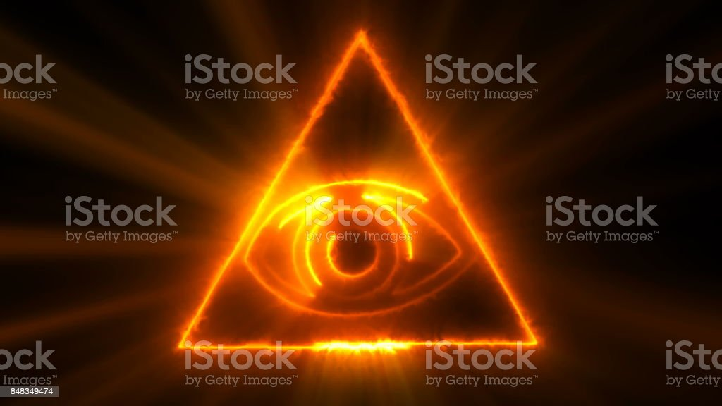 Abstract background with The Eye of Providence. Seamless loop digital backdrop stock photo