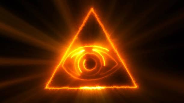 fondo abstracto con el ojo de la providencia. fondo digital de bucle sin interrupción - conspiración fotografías e imágenes de stock