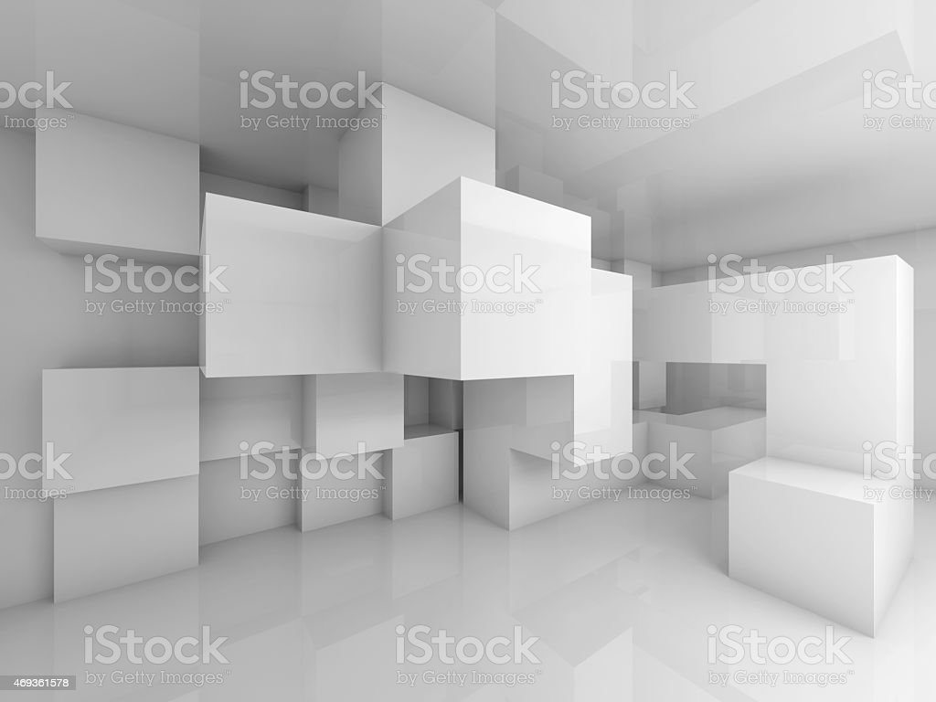Abstract background with white chaotic cubes interior stock photo