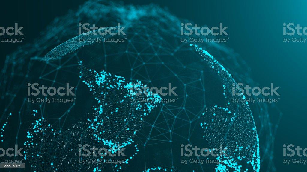 Abstracte achtergrond met wereld kaart deeltjes foto