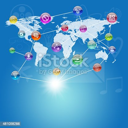 istock Abstract background with world map 481058266