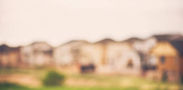 abstract backgrounds. defocused row of houses. - soft focus stock photos and pictures
