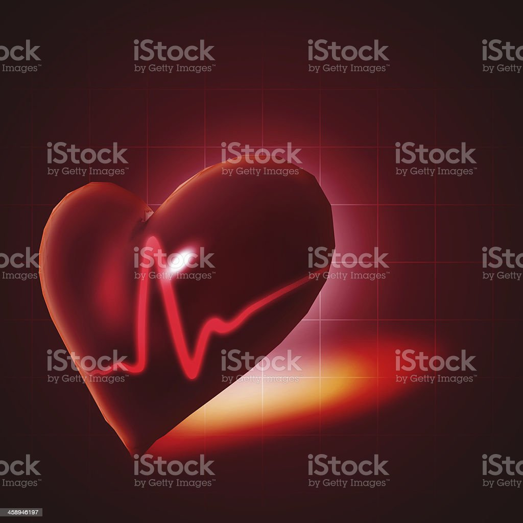 ECG abstract backgrounds with human 3D rendered heart stock photo