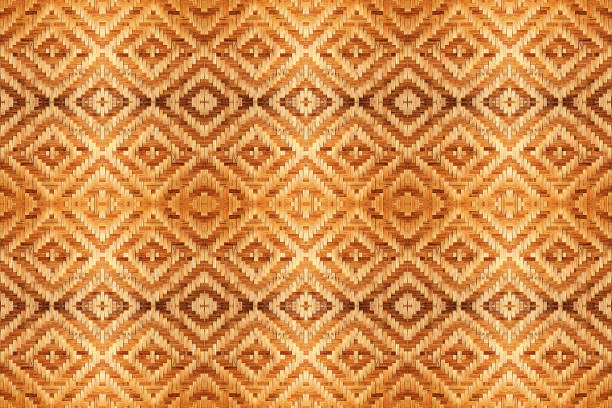 abstract bamboo woven pattern texture for seamless background. detail of wall of country house made of bamboo stock photo